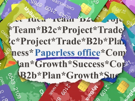 paperless: Finance concept: torn newspaper with words Paperless Office on Credit Card background, 3d render