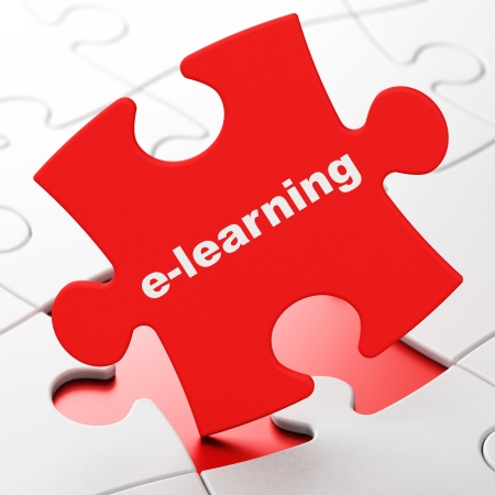 Education concept: E-learning on Red puzzle pieces background, 3d render photo