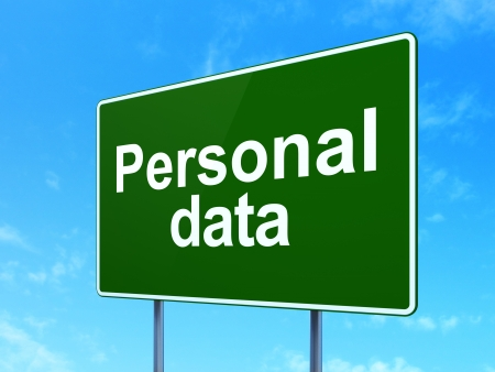 Information concept: Personal Data on green road (highway) sign, clear blue sky background, 3d render photo