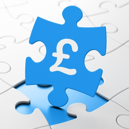 Currency concept: Pound on Blue puzzle pieces background, 3d render photo