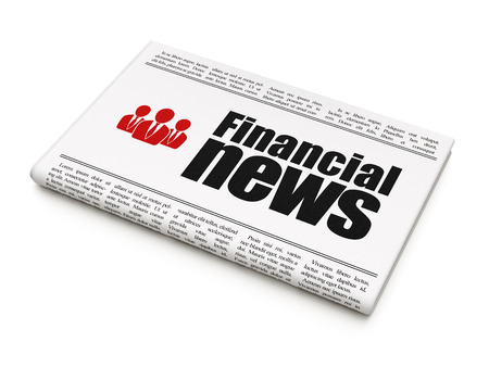 News news concept: newspaper headline Financial News and Business People icon on White background, 3d render photo