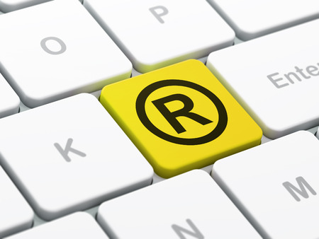 r regulation: Law concept: computer keyboard with Registered icon on enter button background, selected focus, 3d render