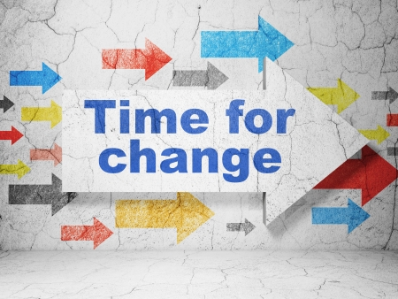 Timeline concept:  arrow whis Time for Change on grunge textured concrete wall background, 3d render Stock Photo
