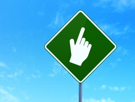 Web design concept: Mouse Cursor on green road (highway) sign, clear blue sky background, 3d render photo