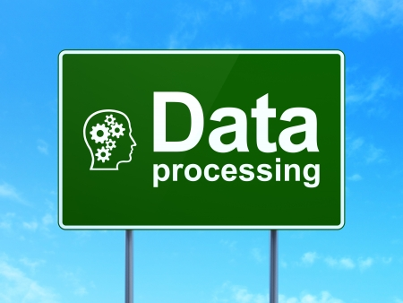 Data concept: Data Processing and Head With Gears icon on green road (highway) sign, clear blue sky background, 3d render photo