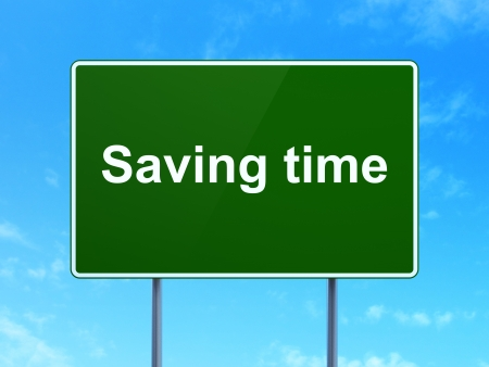 Time concept: Saving Time on green road (highway) sign, clear blue sky background, 3d render photo
