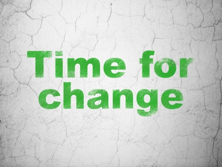 Timeline concept: Green Time for Change on textured concrete wall background, 3d render photo