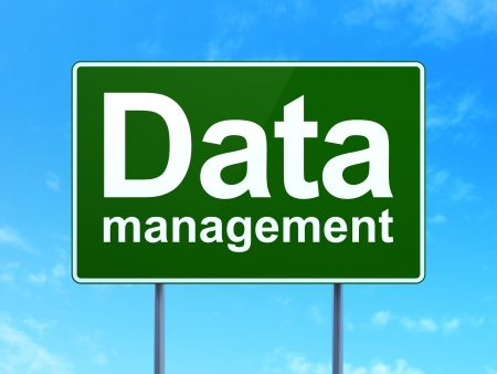 Data concept: Data Management on green road (highway) sign, clear blue sky background, 3d render photo