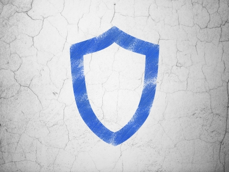 Protection concept: Blue Contoured Shield on textured concrete wall background, 3d render photo