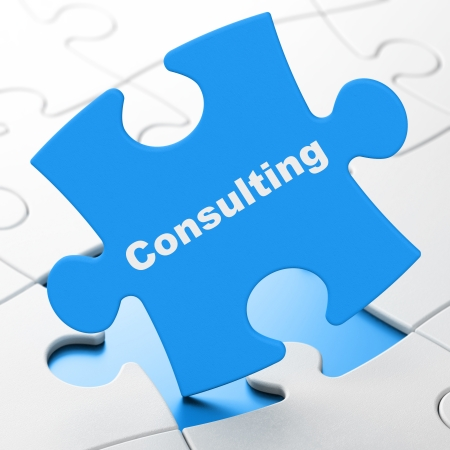 brainteaser: Finance concept: Consulting on Blue puzzle pieces background, 3d render