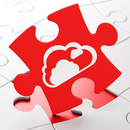 Cloud computing concept: Cloud on Red puzzle pieces background, 3d render photo