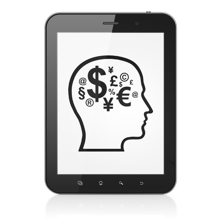 Advertising concept: black tablet pc computer with Head With Finance Symbol icon on display. Modern portable touch pad on White background, 3d render photo