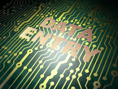 Data concept: circuit board with Metal word Data Entry, 3d render photo
