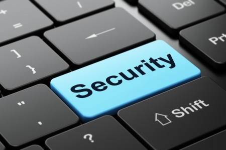 Privacy concept: computer keyboard with word Security, selected focus on enter button background, 3d render photo
