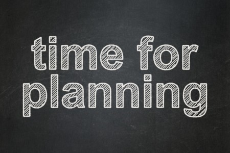 Time concept: text Time for Planning on Black chalkboard background, 3d render photo
