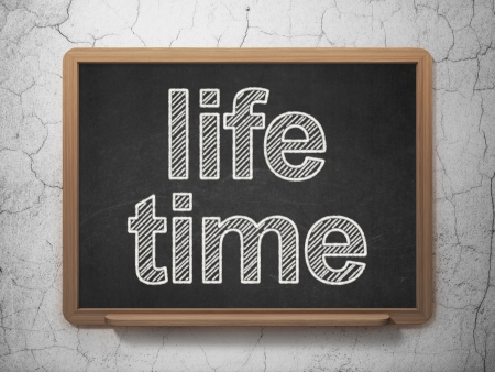 Time concept: text Life Time on Black chalkboard on grunge wall background, 3d render photo