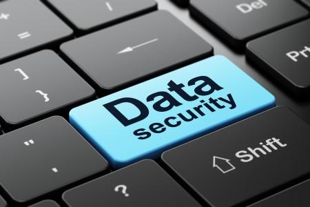 Concept de protection: clavier de l'ordinateur avec le mot sécurité des données, mise au point sélectionnée sur entrer bouton fond, rendu 3d Banque d'images