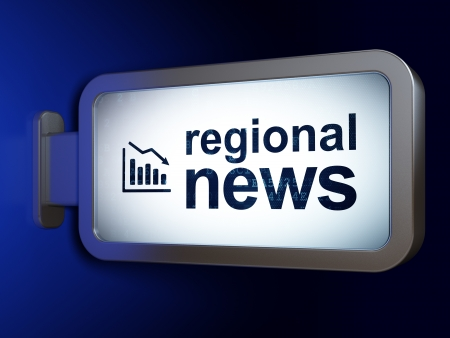 News concept: Regional News and Decline Graph on advertising billboard background, 3d render photo
