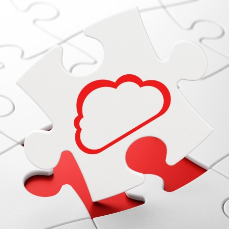 Cloud computing concept: Cloud on White puzzle pieces background, 3d render photo