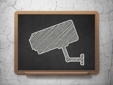 Protection concept: Cctv Camera icon on Black chalkboard on grunge wall background, 3d render photo