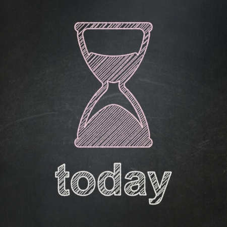 Timeline concept: Hourglass icon and text Today on Black chalkboard background, 3d render photo