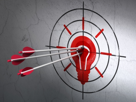 Success business concept: arrows hitting the center of Red Light Bulb target on wall background, 3d render photo