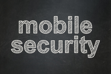 Security concept: text Mobile Security on Black chalkboard background, 3d render photo