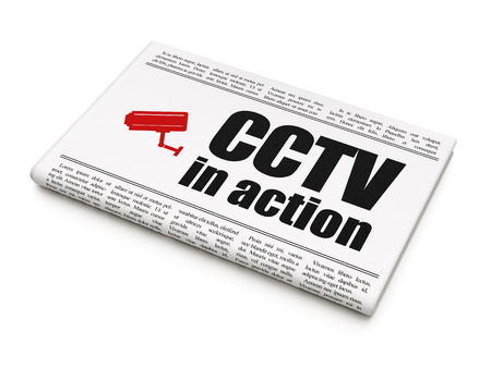 Safety news concept: newspaper headline CCTV In action and Cctv Camera icon on White background, 3d render photo