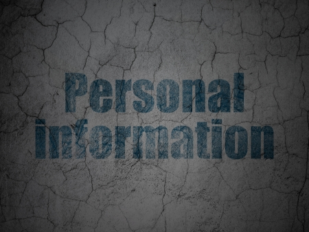Safety concept: Blue Personal Information on grunge textured concrete wall background, 3d render photo