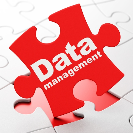 Data concept: Data Management on Red puzzle pieces background, 3d render photo