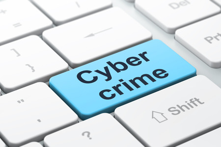 Protection concept: computer keyboard with word Cyber Crime, selected focus on enter button background, 3d render