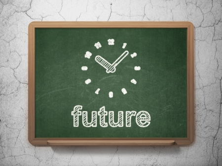 Timeline concept: Clock icon and text Future on Green chalkboard on grunge wall background, 3d render photo