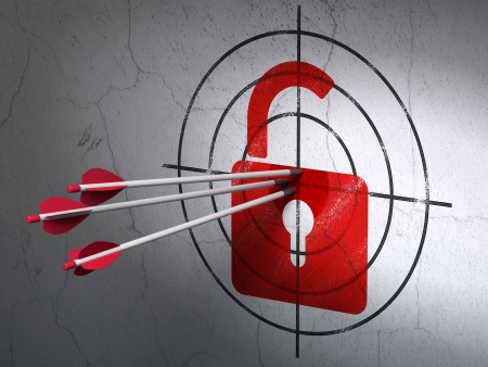 Success Data concept: arrows hitting the center of Red Opened Padlock target on wall background, 3d render photo