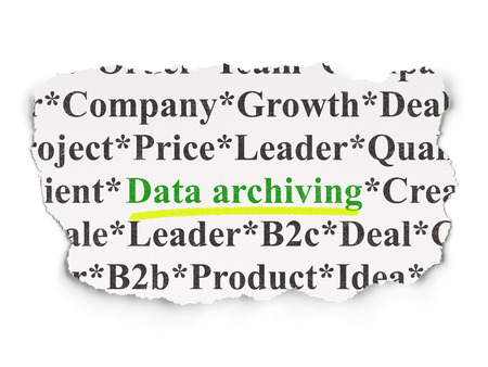 data archiving: Data concept: torn newspaper with words Data Archiving on Paper background, 3d render Stock Photo