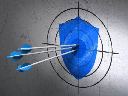 Success privacy concept: arrows hitting the center of Blue Shield target on wall background, 3d render photo
