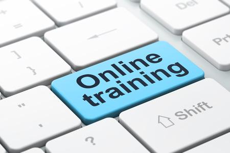 教育理念: word で選択したフォーカス オンライン トレーニング コンピューターのキーボード入力ボタンの背景、3 d のレンダリング