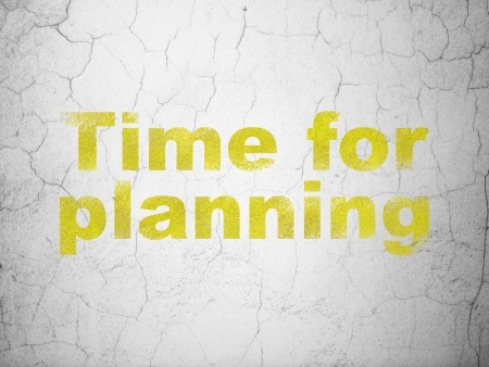 Timeline concept: Yellow Time for Planning on textured concrete wall background, 3d render photo