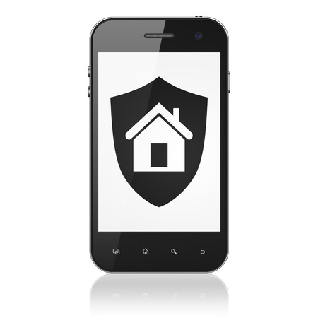 Safety concept: smartphone with Shield icon on display. Mobile smart phone on White background, cell phone 3d render photo