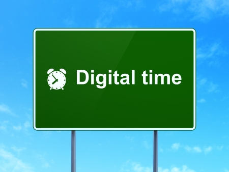 Time concept: Digital Time and Alarm Clock icon on green road (highway) sign, clear blue sky background, 3d render photo