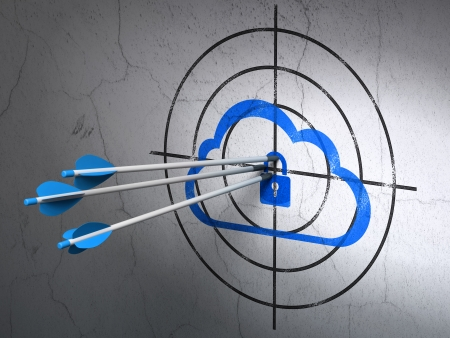 Success cloud technology concept: arrows hitting the center of Blue Cloud With Padlock target on wall background, 3d render photo
