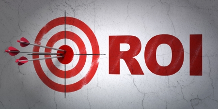 buisnes: Success business concept: arrows hitting the center of target, Red ROI on wall background, 3d render