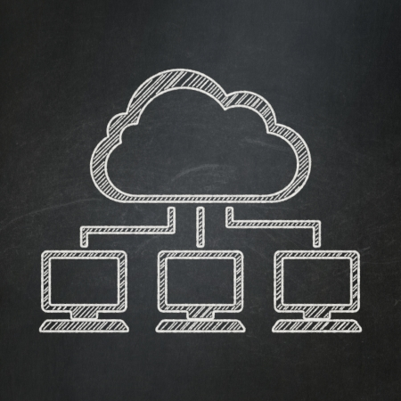 Cloud computing concept: Cloud Network icon on Black chalkboard background, 3d render photo