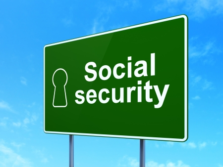 Privacy concept: Social Security and Keyhole icon on green road (highway) sign, clear blue sky background, 3d render photo