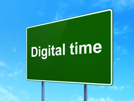 Time concept: Digital Time on green road (highway) sign, clear blue sky background, 3d render photo