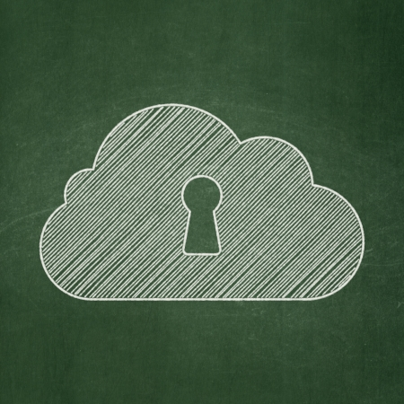 Cloud technology concept: Cloud With Keyhole icon on Green chalkboard background, 3d render photo