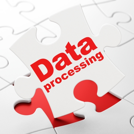 Information concept: Data Processing on White puzzle pieces background, 3d render photo