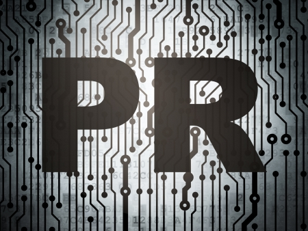pr: Marketing concept: circuit board with  word PR, 3d render Stock Photo