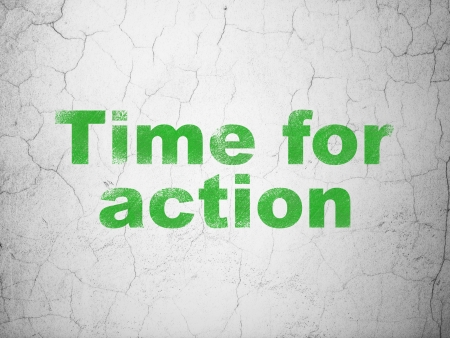 Timeline concept: Green Time for Action on textured concrete wall background, 3d render photo