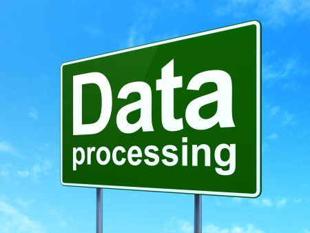 Data concept: Data Processing on green road (highway) sign, clear blue sky background, 3d render photo