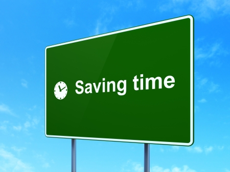 Timeline concept: Saving Time and Clock icon on green road (highway) sign, clear blue sky background, 3d render photo
